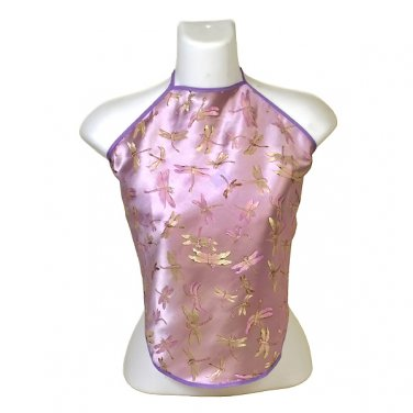 Chinese Dragonfly Brocade Halter Tops - Light Purple - 1 Size Fits Most (DU DOU)