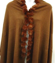 Light Brown Rabbit Fur Pom Shawl