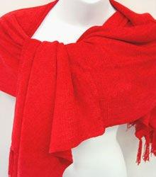 Red Chenille Feel Shawl