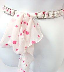 White & Pink Poka Dot Chiffon Sash Belt 100RSASH8