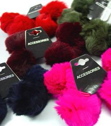 12 Colorful Rabbit Fur Ponytail Holders 1HA4004712