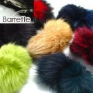 12 Rabbit Fur Hair Barrettes 1HA4005440