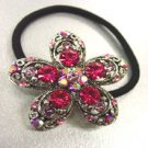 Pink Crystal Flower Ponytail Holder 1HA2520217