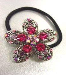 Pink Crystal Flower Ponytail Holder 1HA2520217