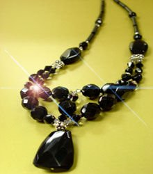 Natural Black Stone & Swarovski Necklace 1N139204