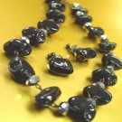 Black Stone Beads Necklace Set 1N251427
