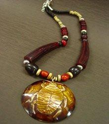 Wine Brown Wood Beads Long Necklace 1N0802397