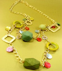 Green Wood  Gold Tone Chain Long Necklace 1N2381709