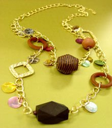 Brown Wood & Cord Beads Long Necklace 1N2381709