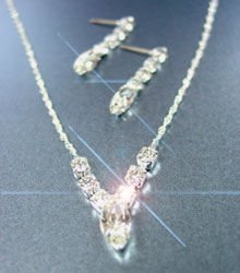 Silver Rhinestone Crystals Necklace Set 1N0010059