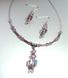 Lavender Swarovski Crystals Necklace Set 1N050367