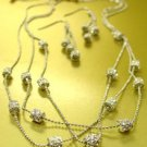 Silver Pave Crystals Chains Necklace Set 1N133109