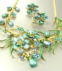 Blue Crystals Gold Floral Necklace Set 1N226147