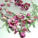 Pink Crystals Floral Necklace Set 1N226147