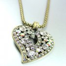 Clear Crystals Gold Heart Mesh Necklace 1N4001994