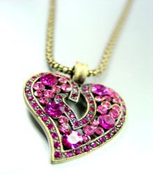 Pink Crystals Gold Heart Mesh Necklace 1N4001994