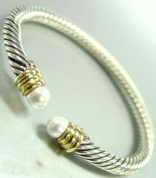 Sterling Silver Cable Pearls Bracelet 1B009217