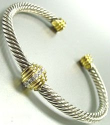 Sterling Silver Cable Crystals Bracelet 1B009179