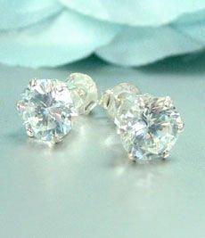 Sterling Silver CZ Crystal STUD Earrings 6 MM