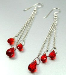 Red Crystals Sterling Silver Earrings 1E4007063