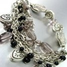Black Beads Hearts Stretch Bracelet 1B1255410