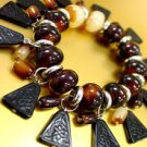 Brown Lucite Beads Black Disks Bracelet 1B0431852