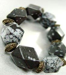 Natural Grey Black Stones Bracelet 1B0385232