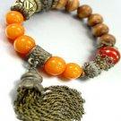 Natural Carved Beads Tassel Bracelet  1B067123B
