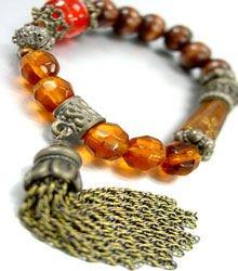 Natural Carved Beads Tassel Bracelet 1B067123D