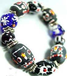 Black Painted Beads Stretch Bracelet 1B11479