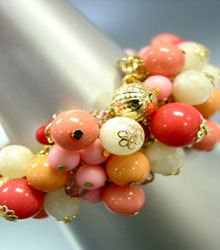 Pink Lucite Gold Beads Toggle Bracelet 1B1255225