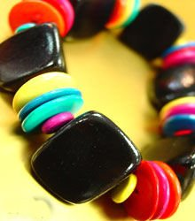 Colorful Black Wood Beads Bracelet 1B138770