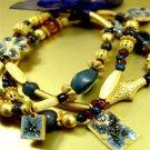Blue Beads Gold Stretch Bracelet 1B235156