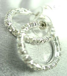 Silver Crystals 1 Inch Hoop Earrings 1E400439