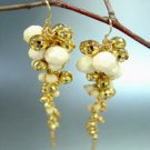 Creme Gold Beads Dangle Earrings 1E1258508
