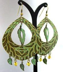 Green Antique Oxidized Dangle Earrings 1E2916070