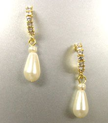 Gold Crystals Dangle Pearl Earrings 1E0013135