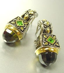 Olive CZ Crystals Silver Gold Earrings 1E1015194