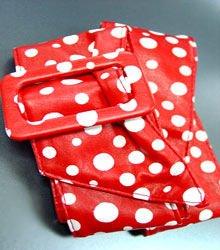 Red White Polka Dots Buckle Wrap Belt  1BTB0012433