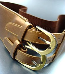 Brown Double Buckle Elastic Wrap Belt 1BTB1340626