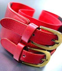Red Double Buckle Elastic Wrap Belt 1BTB1340626