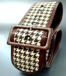 Brown Houndstooth Tweed Buckle Belt 1BTB13406262