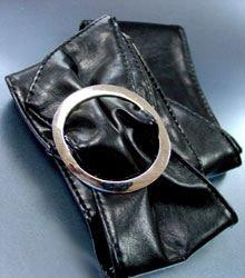 Black Large Silver Buckle Wrap Belt  1BTB261728L