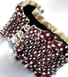 Bronze White Polka Dots Ruffle Wrap Belt  1BTB103LR