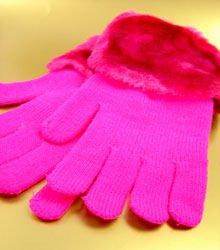 Hot Pink Acrylic Faux Fur Glove 1GLOVE2699