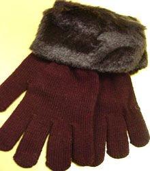Brown Acrylic Faux Fur Glove  1GLOVE2699