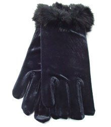 Black Velvet  & Rabbit Fur Glove 1GLOVE2974