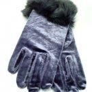 Grey Velvet Rabbit Fur Glove  1GLOVE2974