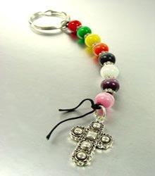 Multi Cats Eye Beads & Cross Key Chain  1KC1321214