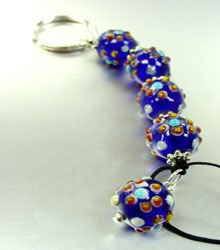 Blue Marble Glass Beads Key Chain  1KC132196
